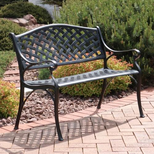 Sunnydaze 2-Person Black Checkered Cast Aluminum Outdoor Patio Garden Bench Perspective: top