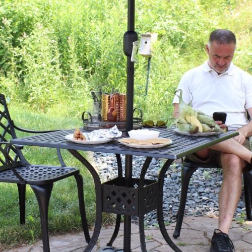 "Sunnydaze Black Heavy-Duty Cast Aluminum Outdoor Square Patio Dining Table - 35"" Perspective: top"