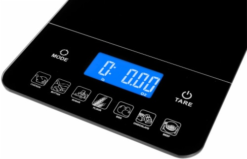 Ozeri Touch III 22 lbs (10 kg) Digital Kitchen Scale with Calorie Counter, in Tempered Glass Perspective: top