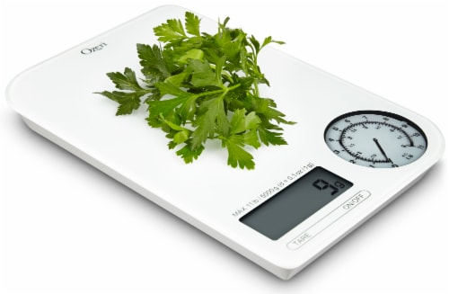 Ozeri Rev Digital Kitchen Scale with Electro-Mechanical Weight Dial Perspective: top