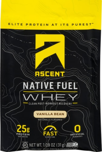 Ascent Vanilla Bean Single Serving Packet Protein Powder Mix Perspective: top