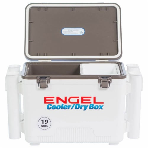 Engel 19 Quart Fishing Rod Holder Attachment Insulated Dry Box Ice Cooler, White Perspective: top