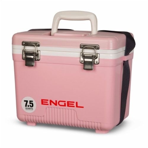 Engel 7.5-Quart EVA Gasket Seal Ice and DryBox Cooler with Carry Handles, Pink Perspective: top