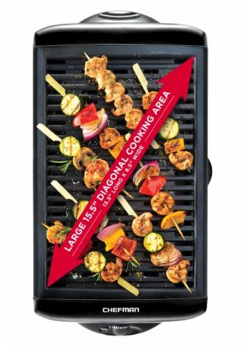 Chefman Electric Smokeless Indoor Grill with Nonstick Coating - Black Perspective: top