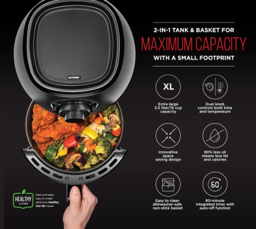 Chefman Analog Air Fryer with Dual Control - Black Perspective: top