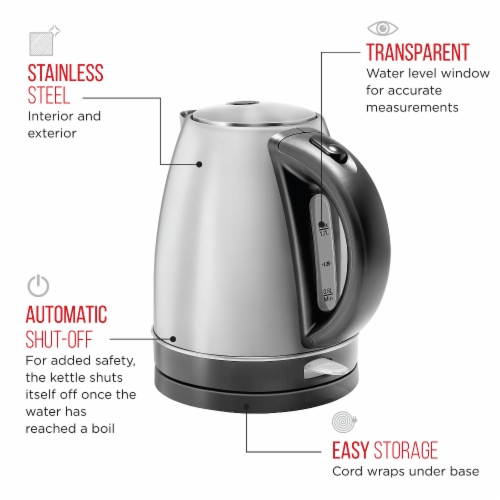 Chefman Stainless Steel Electric Kettle Perspective: top