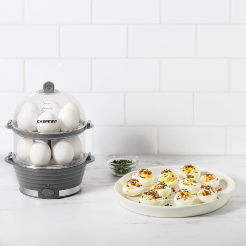 Chefman Electric Double Decker Egg Cooker Boiler - Gray Perspective: top
