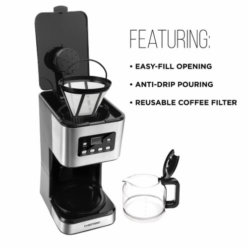 Chefman Square Stainless Steel Programmable Electric Coffee Maker - Silver Perspective: top