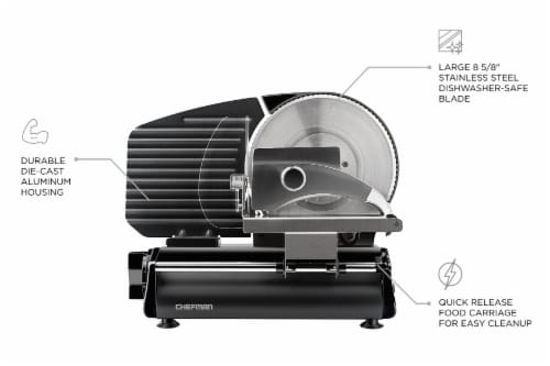 Chefman Stainless Steel Die-Cast Electric Quick Release Meat Slicer - Black Perspective: top