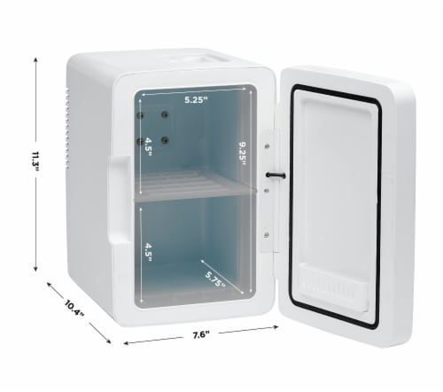 Chefman Portable LED Mirrored Mini Fridge - White Perspective: top