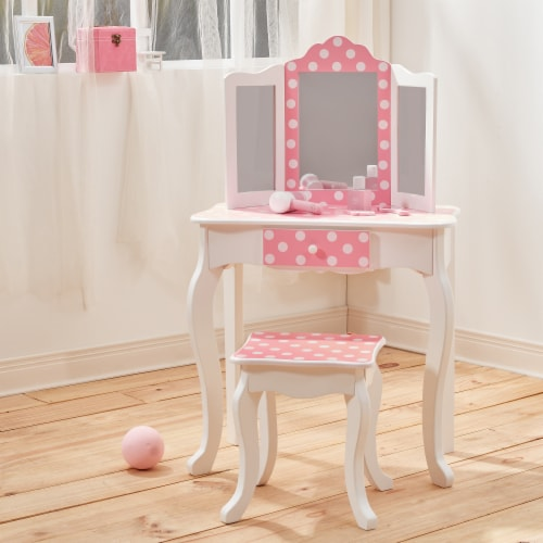 Fantasy Fields Kids Vanity Set Wooden Table with Mirror & Stool Pink TD-11670F Perspective: top