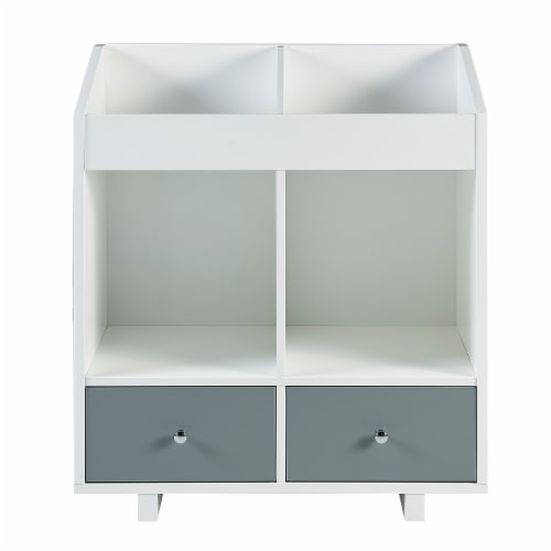 Versanora Wooden Storage Stand Unit 2 Section & Drawers White/Grey VNF-00010 Perspective: top