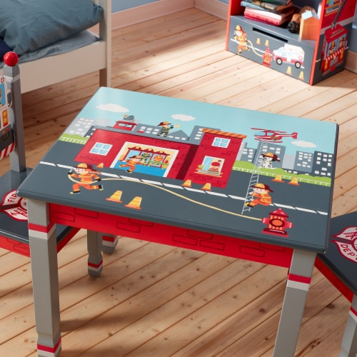 Fantasy Fields Lil Fire Fighters Childrens Kids Toddler Wooden Table TD-12514A1 Perspective: top