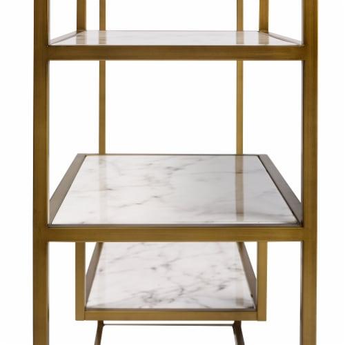 Versanora Wooden Bookcase Book Shelf Storage Unit Marble Marmo VNF-00035 Perspective: top