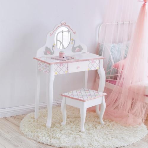 Fantasy Fields Swan Lake Girls Wooden Vanity Set & Stool Kids Dress Up TD-12890A Perspective: top