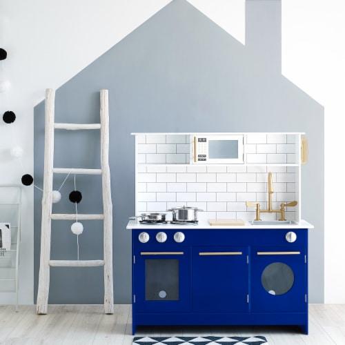 Blue Kids Toy Kitchen Wooden Cooker Children Imitation Play TeamsonKidsTD12681B Perspective: top