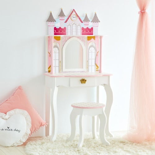 Fantasy Fields Kids Vanity Set Castle Table With Mirror & Stool White TD-12951A Perspective: top