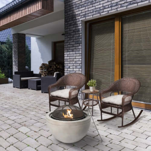 Peaktop Firepit Wood Burning Fire Pit Concrete Style BBQ Grill Poker HR30180AA Perspective: top
