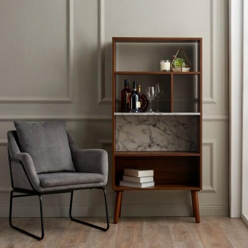 Versanora Wooden Bookcase Bookshelf 4 Tier Faux Marble Walnut Kingston VNF-00078 Perspective: top