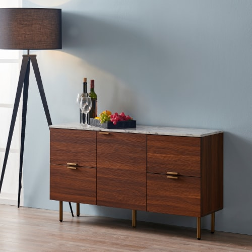 Versanora Wooden Sideboard With Faux Marble Top & Walnut Legs Ashton VNF-00081 Perspective: top