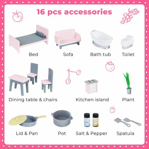 Teamson Kids 'Wonderland' Children's 2 in 1 Doll House & Play Kitchen TD-12515P Perspective: top