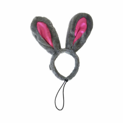 Midlee Easter Bunny Gray & Pink Rabbit Ears for Large Dogs Headband With Tail Perspective: top