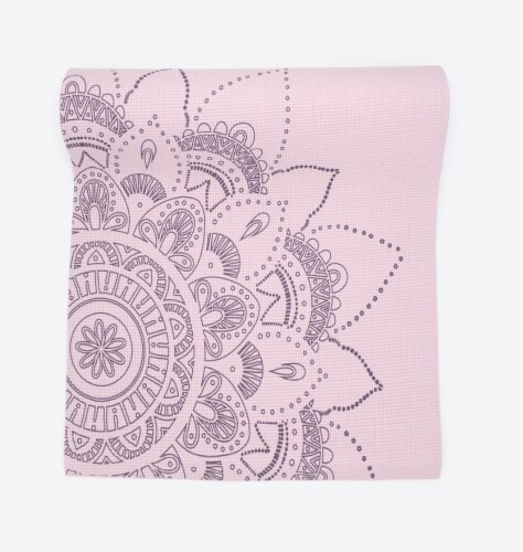 Oak and Reed Extra-Thick Non-Slip Yoga Mat, Lavender Floral Medallion Perspective: top
