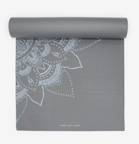 Oak and Reed Extra-Thick Non-Slip Yoga Mat, Grey Floral Medallion Perspective: top