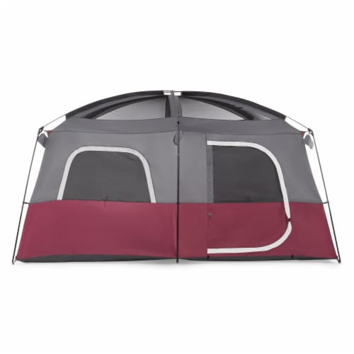 CORE Straight Wall 14 x 10 Foot 10 Person Cabin Tent with 2 Rooms & Rainfly, Red Perspective: top