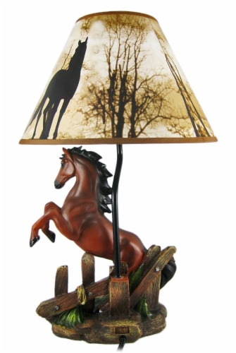 Brown Stallion Horse Table Lamp W/ Nature Print Shade Perspective: top