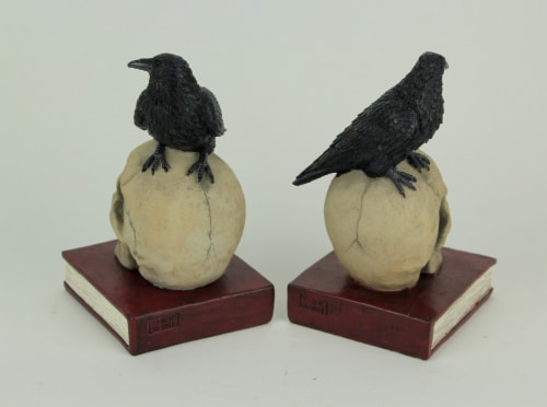 Evil Omen Raven On Skull Perch Decorative Bookend Set Perspective: top