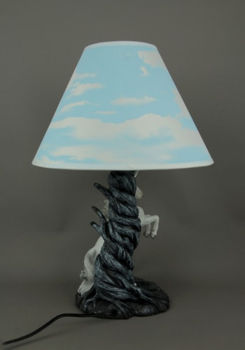 White Rearing Unicorn Table Lamp with Cloud Print Shade Perspective: top