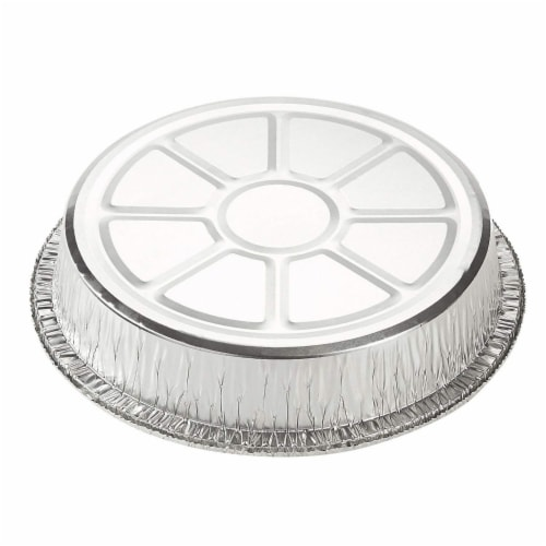 Aluminum Foil Pans - 25-Piece Round Disposable Tin Pans with Flat Board Lids Perspective: top