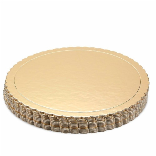 12-Pack Round Cake Boards, Cardboard Scalloped Cake Circle Bases, 10 Inches Diameter, Gold Perspective: top