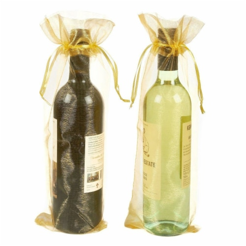 24-Pack Gold Satin Drawstring Wine Wrapping Bags Bottle Gift Bag for Display Perspective: top