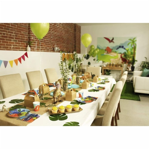 Dinosaur Party Dinnerware Set, Plates, Cutlery, Cups, and Napkins (Serves 24, 144 Pieces) Perspective: top