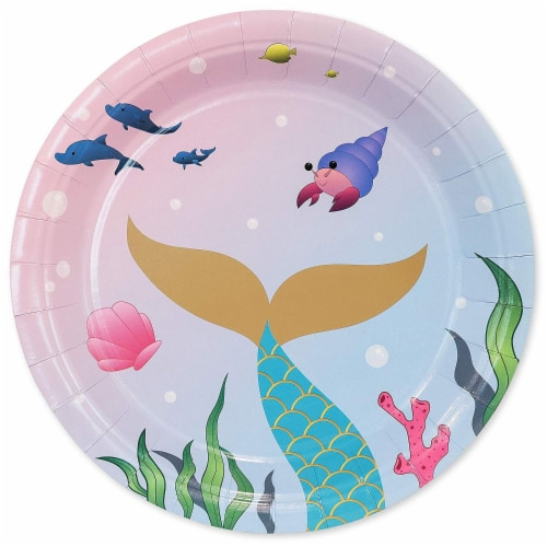 Pink Mermaid Dinnerware Set, Plates, Cutlery, Cups, and Napkins (Serves 24, 144 Pieces) Perspective: top