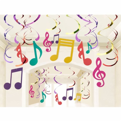 30 Pieces Swirl Decorations,  Music Decor Party, Hanging Musical Note Whirls Perspective: top