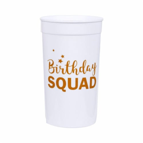 Blue Panda Birthday Squad Plastic Party Cups, 16 Oz White Tumblers (3 x 5.1 x 3 in, 16-Pk) Perspective: top