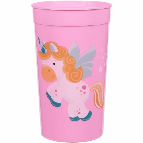 Pink Plastic Tumbler Cups for Unicorn Party (16 oz, 16 Pack) Perspective: top