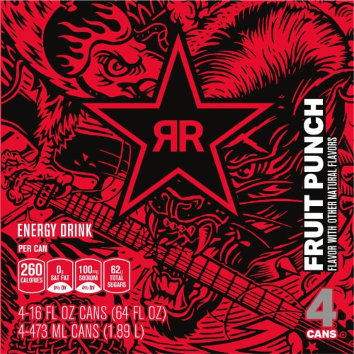 Rockstar® Punched Fruit Punch Flavor Energy Drink Perspective: top