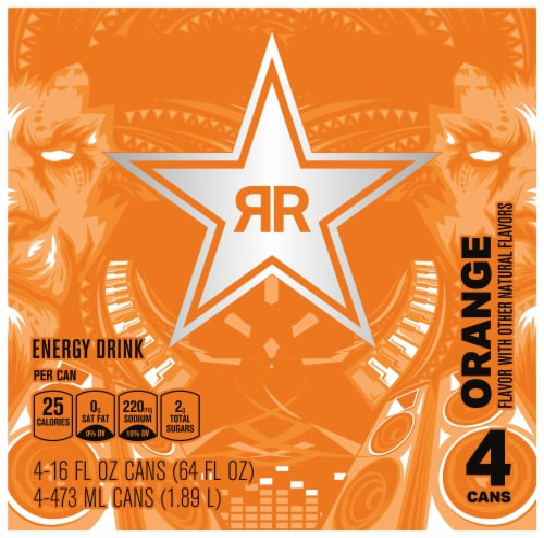 Rockstar Recovery Orange Energy Drink Perspective: top