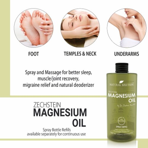Natural Solution Magnesium Oil, Pure Genuine Zechstein Magnesium, Ultra-Pure Oil | 13.5 Oz Perspective: top