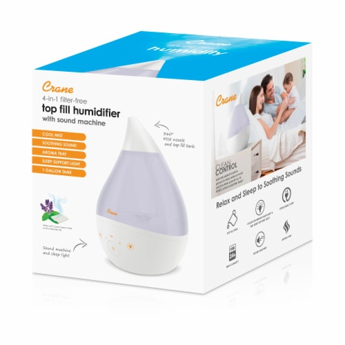 Crane Top Fill Drop Cool Mist Humidifier - White Perspective: top