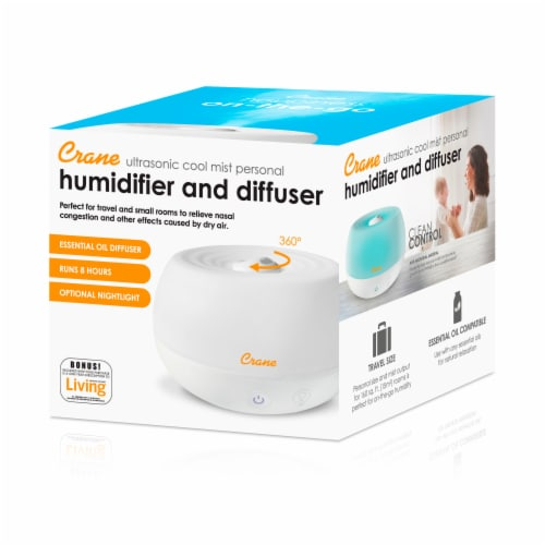 Crane Ultrasonic Cool Mist Personal Humidifier & Diffuser - White Perspective: top