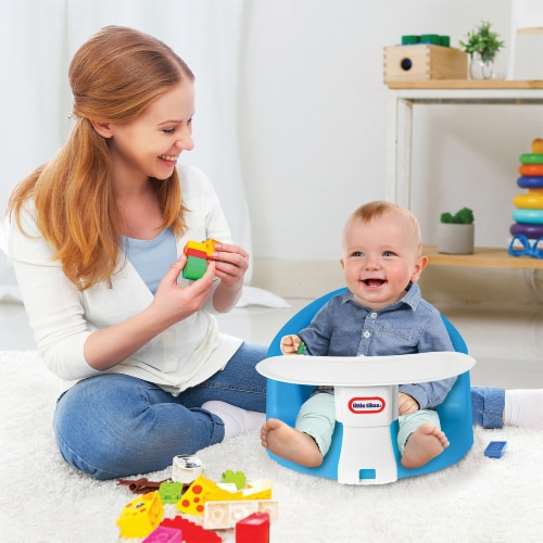 Little Tikes My First Seat Infant Foam Floor Chair with Feed and Play Tray, Blue Perspective: top