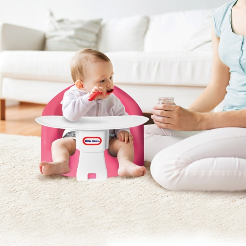 Little Tikes My First Seat Infant Foam Floor Chair with Feed and Play Tray, Pink Perspective: top