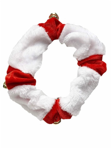 Midlee Santa Hat Headband with Red/White Bell Collar for Large Dogs Perspective: top