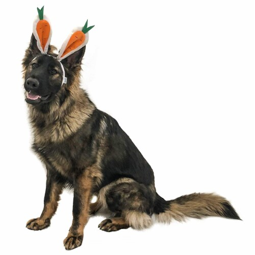 Midlee Carrot Bunny Ears Easter Dog Headband Costume (Large) Perspective: top