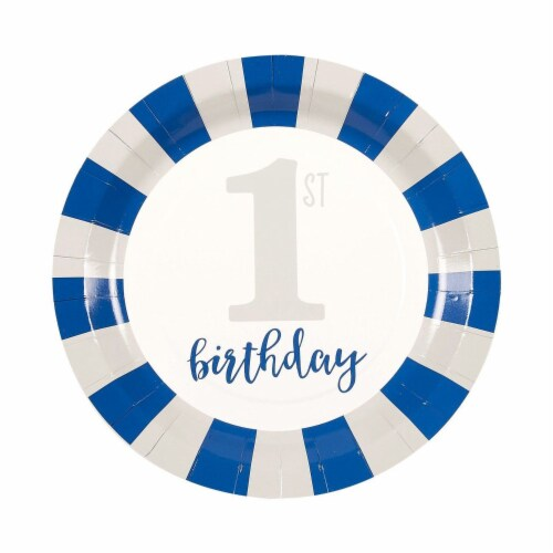 Baby Boy's 1st Birthday Party Dinnerware Supplies, Serves 24 Guests (144 Pieces) Perspective: top